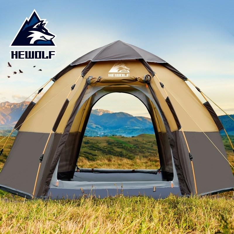- (당일출고)hewolf 원터치 전자동 캠핑 3인용 4인용 5인용 6각 돔형 텐트 방수 쉘터, 일반형 블루
