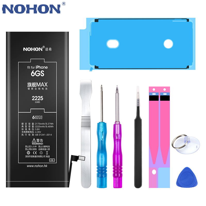 NOHON 노혼 Battery 대 한 iPhone X XR XS 8 8Plus 7 7Plus 6 초 Plus SE 5 5C Max Capacity 교체, For iPhone 6S 2225mAh