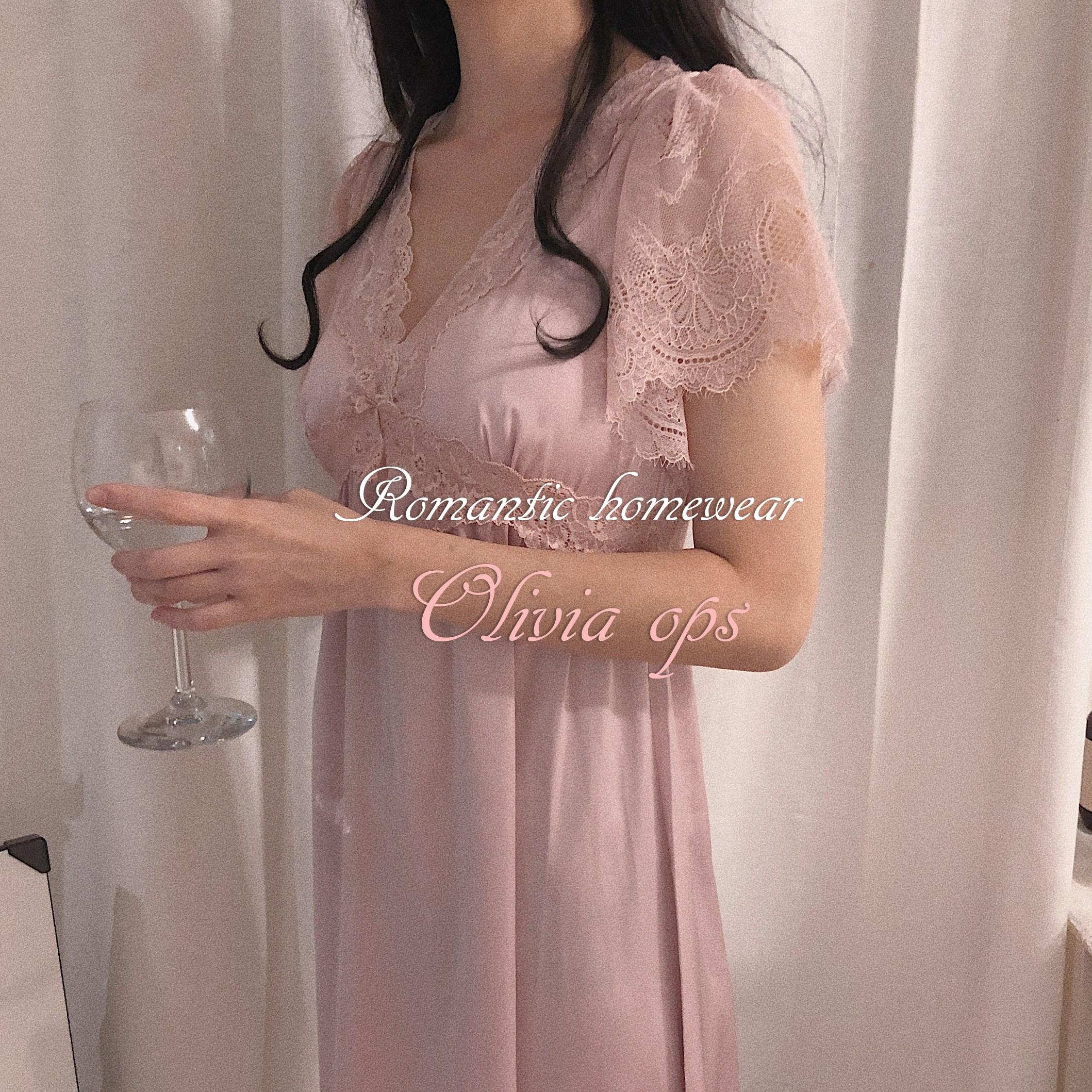 [청순섹시]올리비아 슬립 ops (롱 원피스 파자마 공주잠옷 여신 핑크 레이스 실크 새틴 홈웨어)