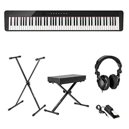 Casio PX-S1000 Privia 88-Key Slim Digital Console Piano with 18 Tones Black - Bundle with Bench He, One Color_One Size
