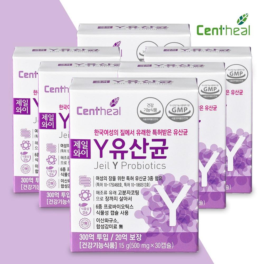 [쎈트힐] 3박스 구매시 선물포장 여성유산균 질유산균 프로바이오틱스&제일Y유산균 500mg 30정, 30캡슐, 6개