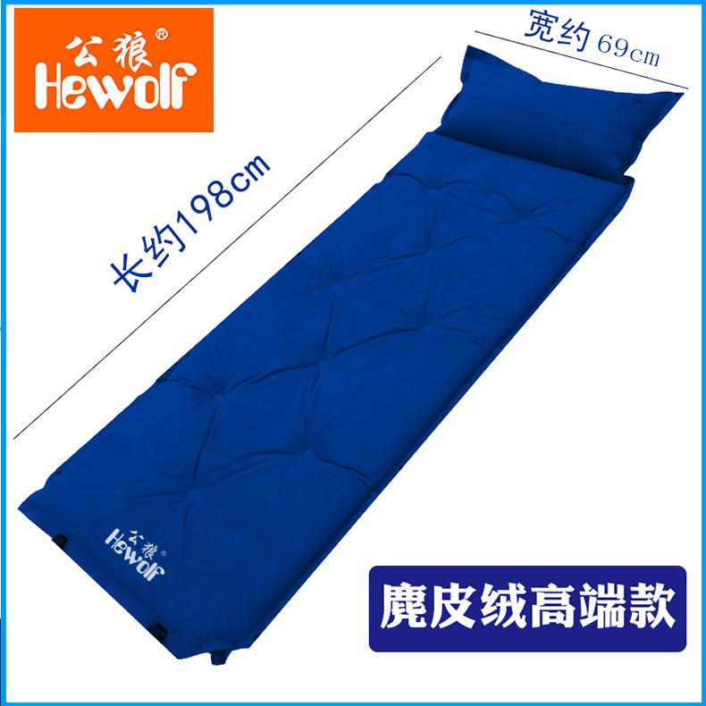 캠핑매트 8cm야외 오토 에어매트 5CM두꺼운 제습패드 더블 텐트 매트 3-4인, T02-베게 일체형 1인용 무스탕 블루 5cm두꺼운