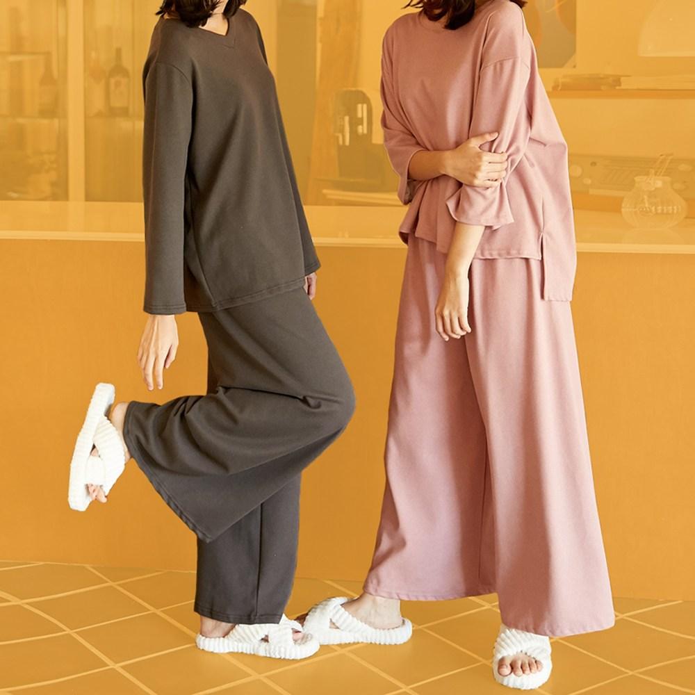 여성 극세사 수면 피치기모 빅사이즈 홈웨어 라운드넥 잠옷세트