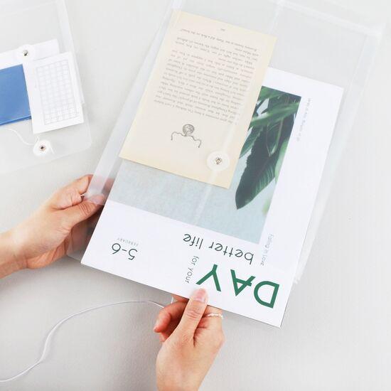하도메 PVC 파우치 봉투 A6/A4(반투명 파일 스티커 보관 케이스), 단품