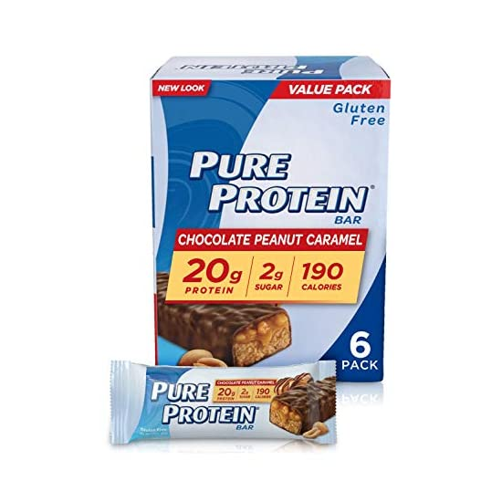 Pure Protein 퓨어프로틴 바 고 프로틴 에너지를 지원하는 뉴트리션 저당 글루텐 프리 초콜릿 땅콩 캐러멜 1.76Oz 6 팩, 1개, 1개