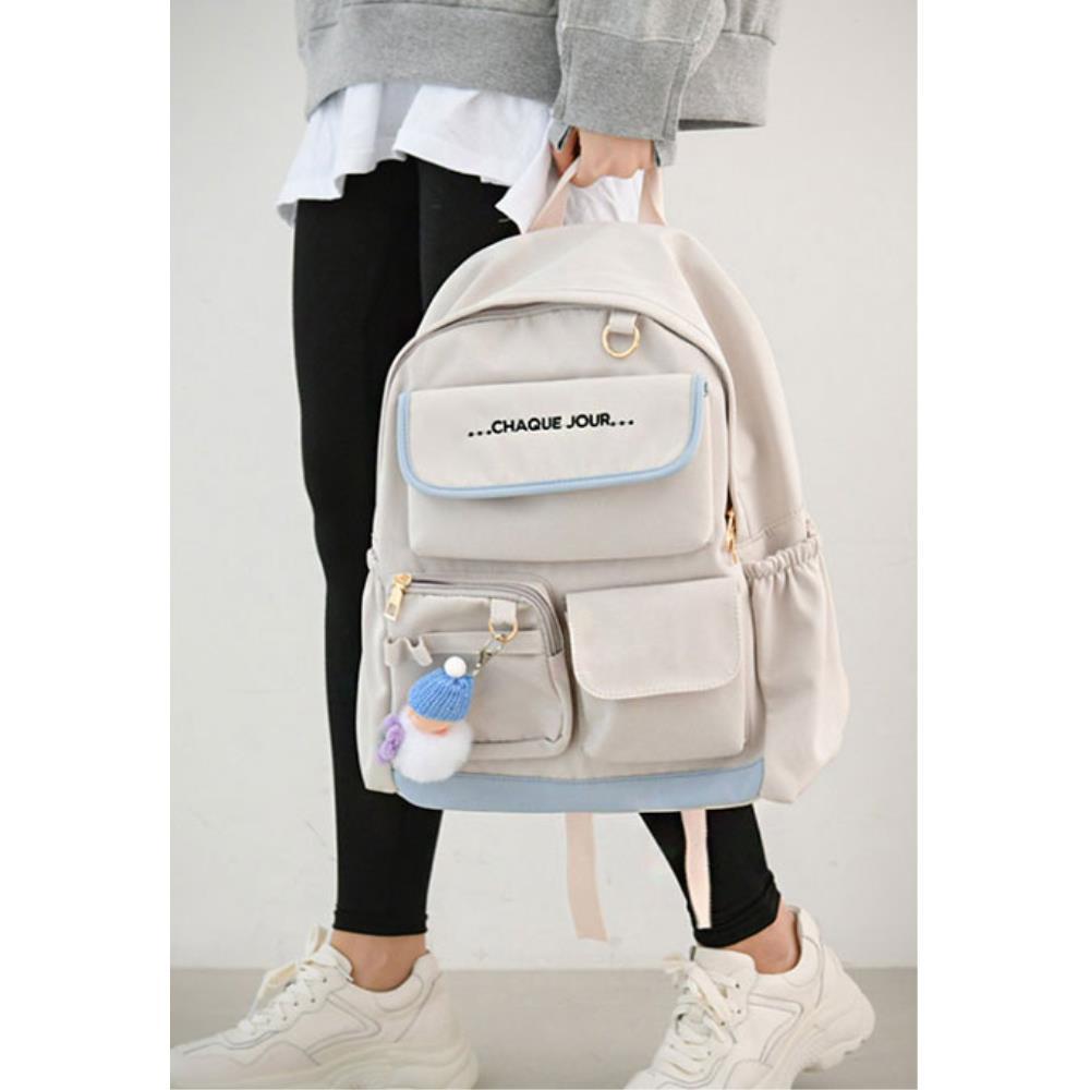 파스텔톤 실용 포켓 중학생 가방 백팩 배낭여행가방 여자여행백팩