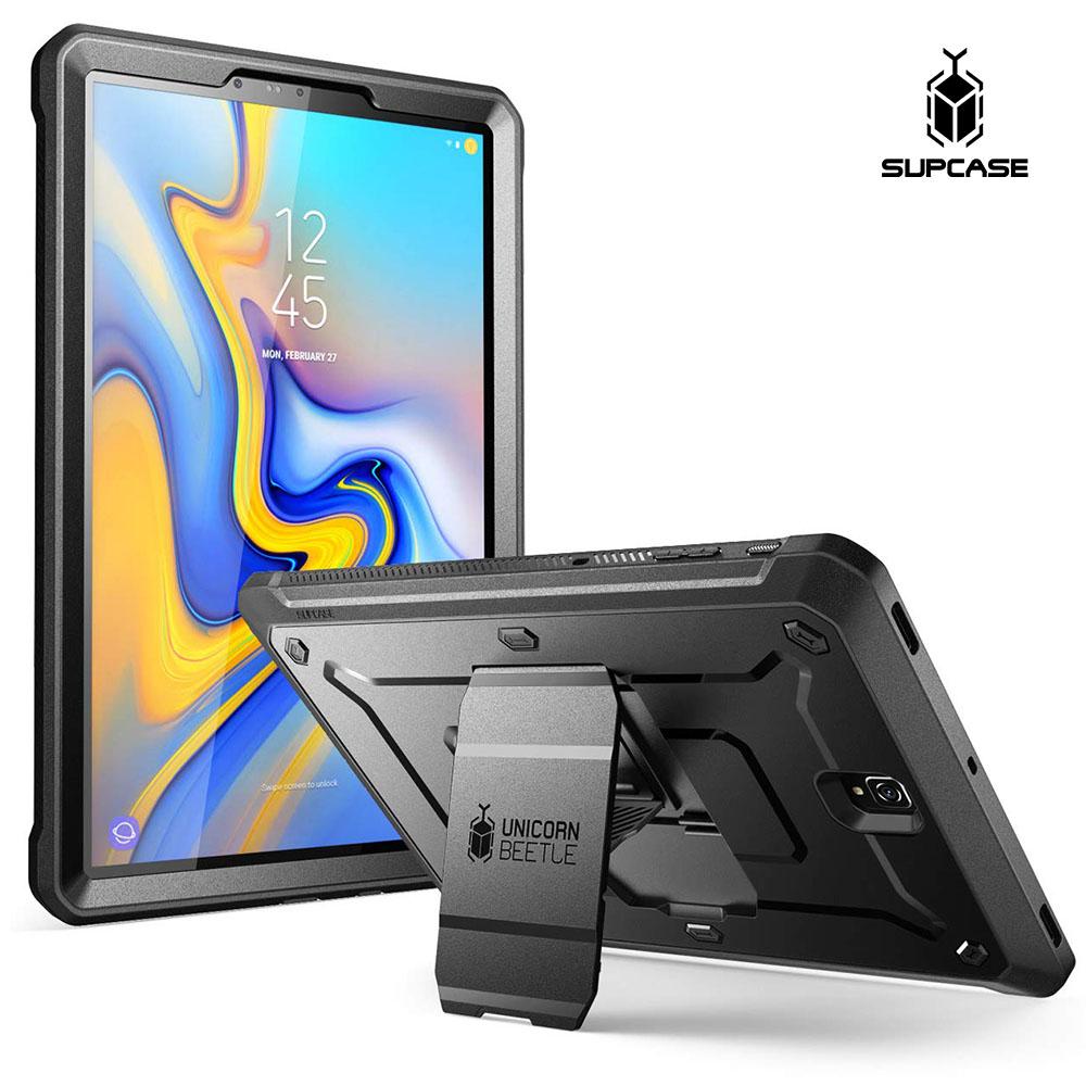 Supcase 갤럭시 탭 S4 10.5 태블릿 케이스 스탠드 보호필름 2색, 블랙