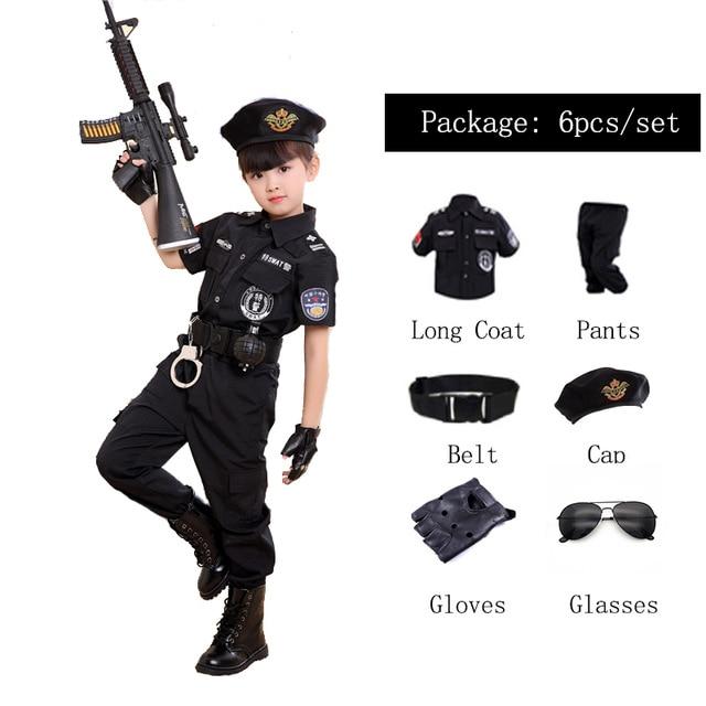 어린이 할로윈 경찰관 의상 어린이 파티 카니발 경찰복 110-160cm 소년 육군 경찰관 코스프레 의류 세트