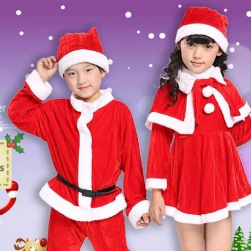 크리스마스 아동 산타복 고급 어린이 남아 여아 산타복 산타걸 모자+망토+의상 세트