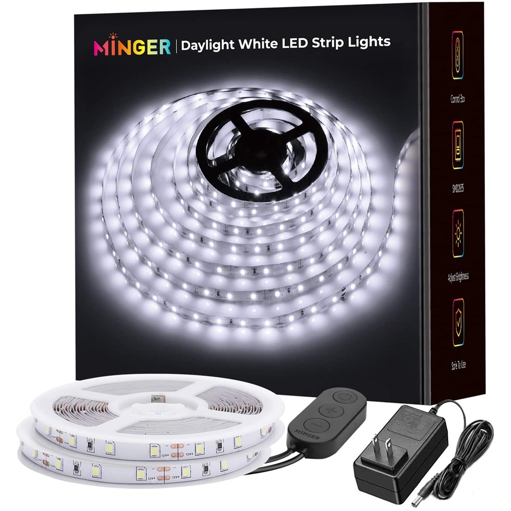 LED 스트립 조명 32.8ft MINGER 6500K 밝은 흰색 LED 조명 스트립 컨트롤 박스 강력한 3M 접착제 디밍이 가능한 600LED 조명 스트립