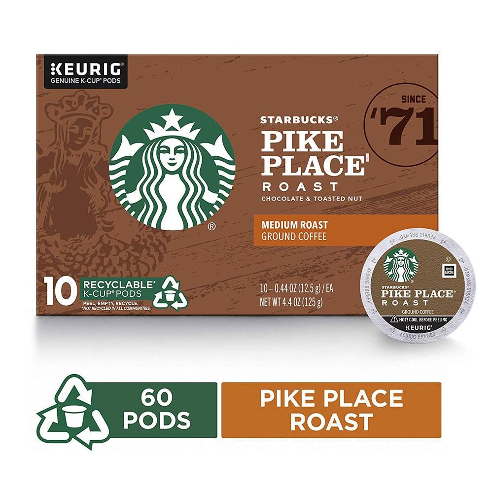 Starbucks Pike Place Roast Medium Single Cup Coffee for Keurig Brewers 스타벅스 캡슐 커피 60개입, 1개