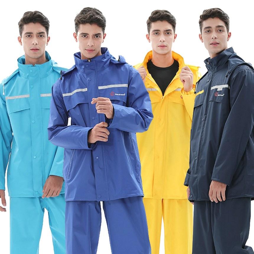 비막아 오토바이우비 남자비옷 배달 방수우의 상하세트, 블루