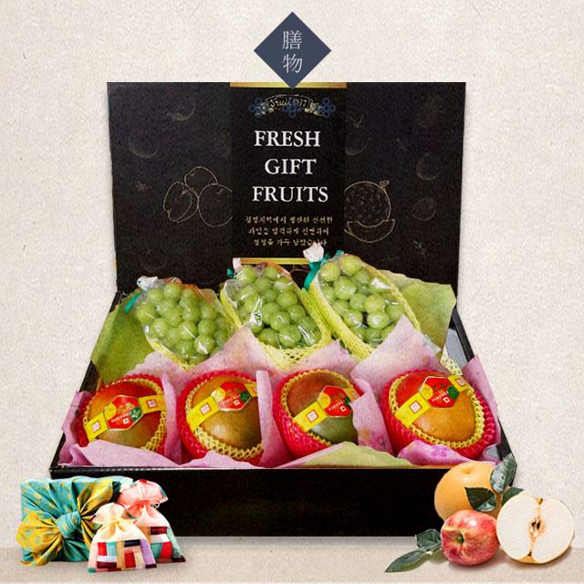 추석 명절 애플망고+샤인머스켓 혼합 과일선물세트 5kg, 과일선물세트 애플망고4수+샤인머스켓3수 5kg내외, 1box