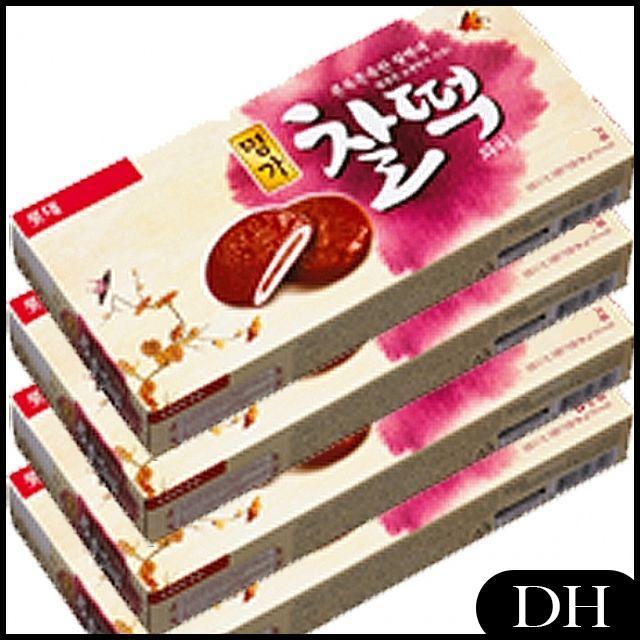 DH 롯데)명가 찰떡파이 186g x 찹쌀 쫀득한 떡속에 6개 쫄깃 단팥 케이크, DH 1