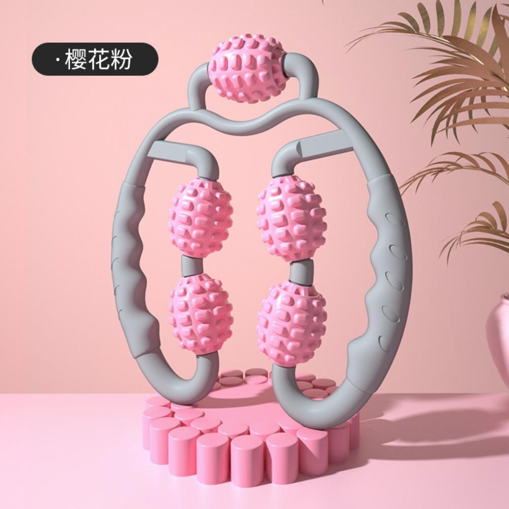 종아리 마사지 롤러 마사지기 하체 허벅지 마사지도구 기계 휴식시간 발 다리 붓기, [업그레이드 버전-벚꽃 가루] -5 마사지 휠 -3D 부동 소수점 디자인-만능 입체 마사지, 1개