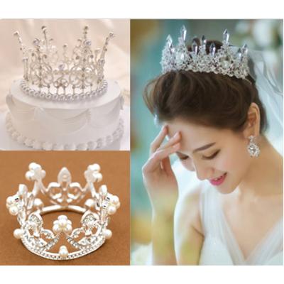 웨딩 티아라 왕관 프로포즈 생일 브라이덜샤워 케이크, 01