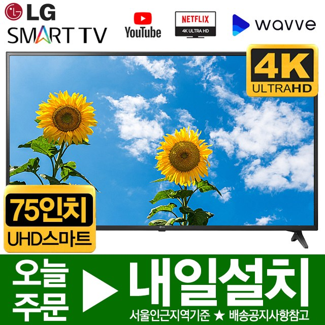 LG 75인치 UHD 4K 스마트 LED IPS TV 75UM6970, 수도권외스탠드설치