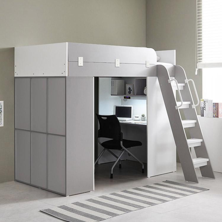 e스마트 하우스 양문수납형 벙커침대 풀세트, 그레이