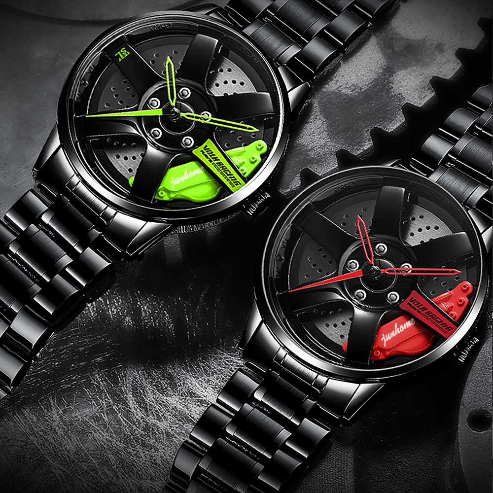JUNHOMEDEC 남성 패션 스포츠 바퀴통 디자인 고급 방수 메탈 손목시계 검은색