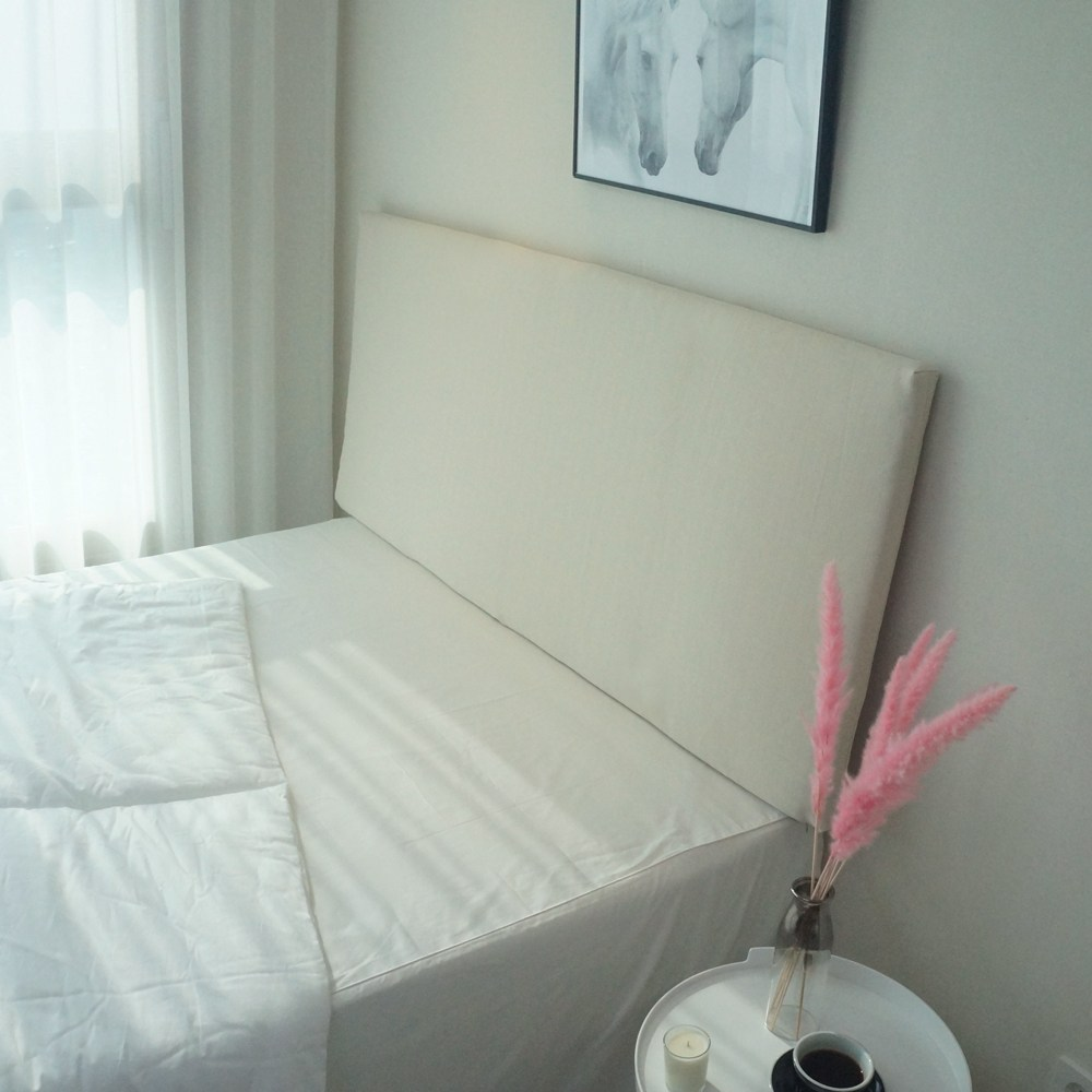 데코코 심플 슬림 침대 헤드보드-6color 헤드쿠션, 아이보리(촬영)