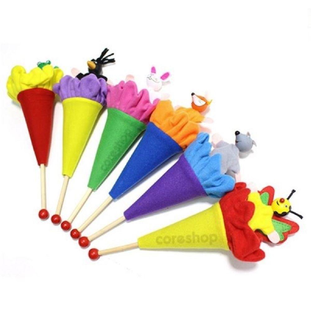 어린이집 놀이 교구 막대 인형 동물 6종