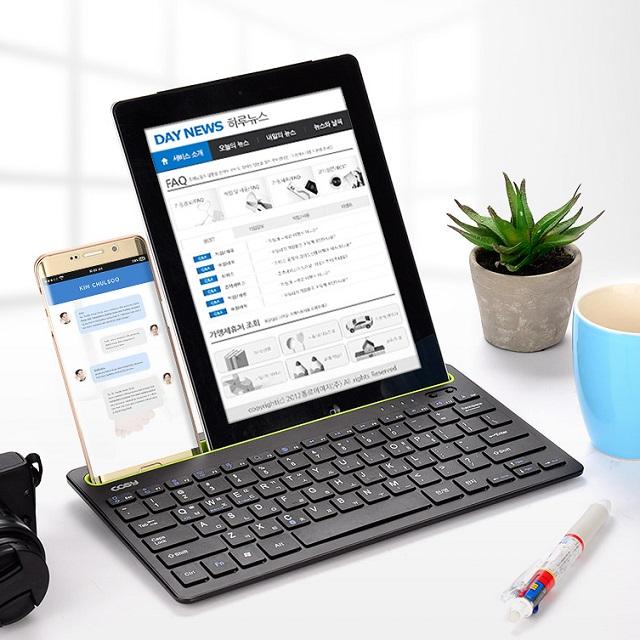 코시 휴대용 충전식 스탠드 멀티페어링 블루투스 키보드 스마트폰 태블릿 노트북 동시연결 무선키보드, 블랙, KB3191