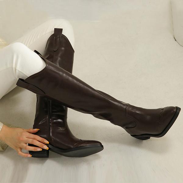 홍대언니 여성 레더 웨스턴 롱부츠 CA22A5347 (5.5cm)