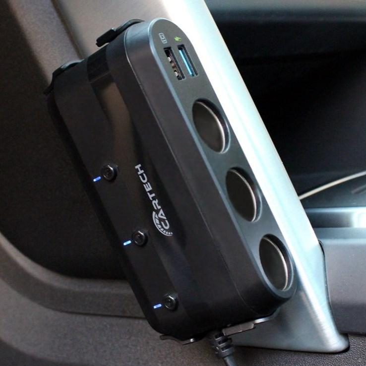 카테크 CT-414 차량용 시거잭 충전기 3구 고속충전 볼트게이지 퀄컴 멀티소켓 (POP 4346244507)