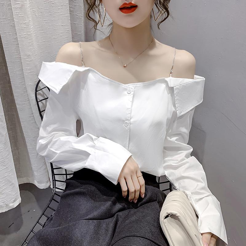 와이에스리테일 한 단어 목 섹시한 오프 숄더 세로 줄무늬 긴 소매 서스펜더 셔츠 쉬폰 셔츠 여성은 얇은 흰색 넓은이었다-11531