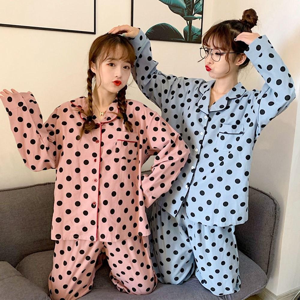 어나더디 면기모 도트 땡땡이 여성 잠옷 세트 파자마