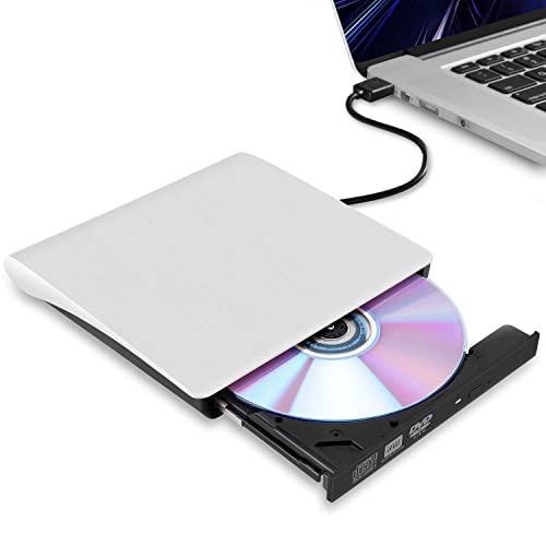 외부 CD 노트북 USB 3.0 울트라 씬 휴대용 버너 작가 및 맥 맥북 프로 에어 iMac 데스크탑 Windows 7 8 10 XP Vista (흰색), 본상품