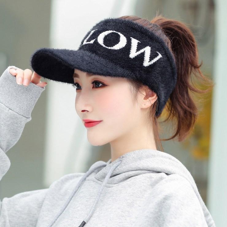 여성 겨울 골프썬캡 스포츠모자 뽀송뽀송, 팔로우-블랙