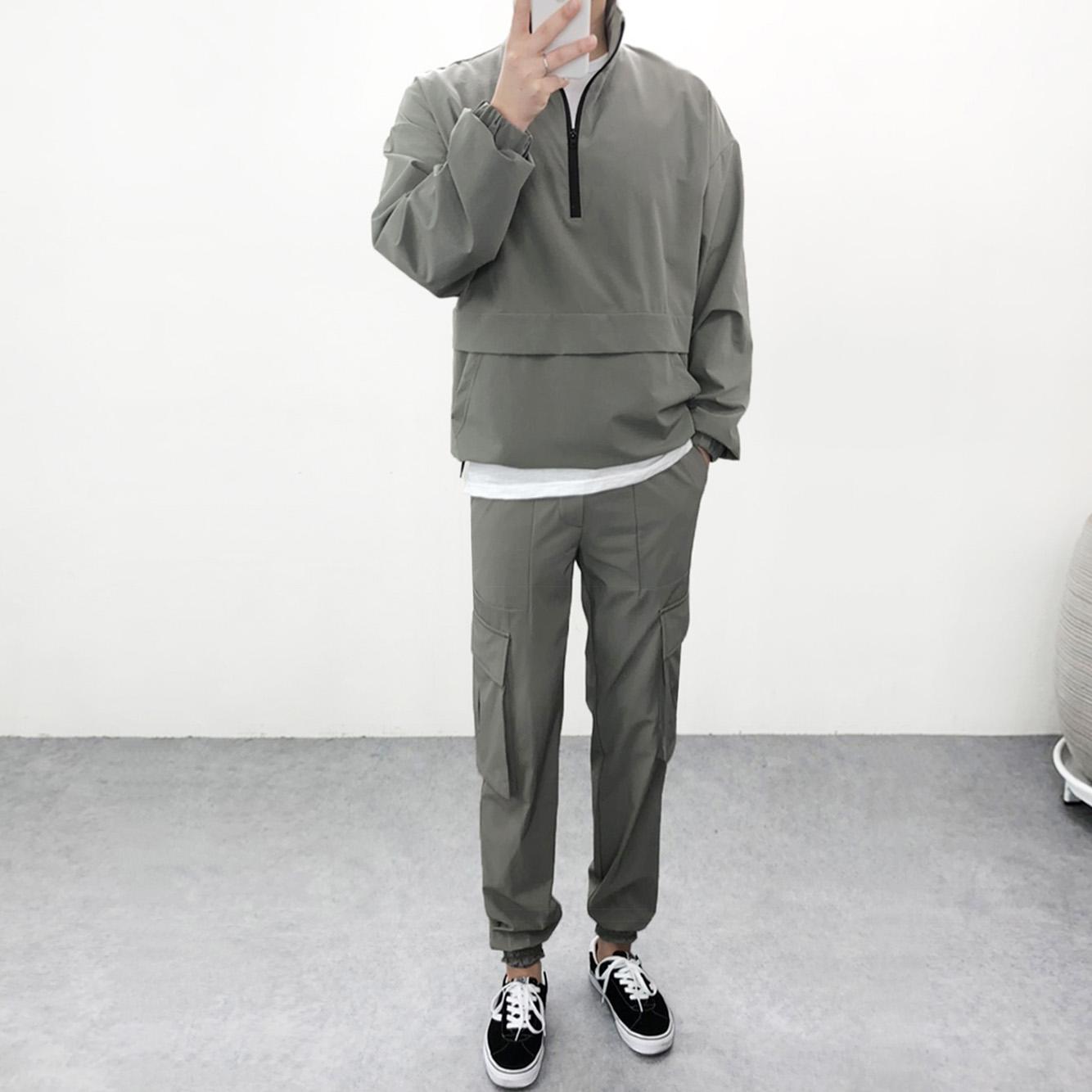 엠클로 남자 오버핏 스판 메쉬 반집업 아노락 맨투맨점퍼 카고조거팬츠 바람막이 세트 2컬러