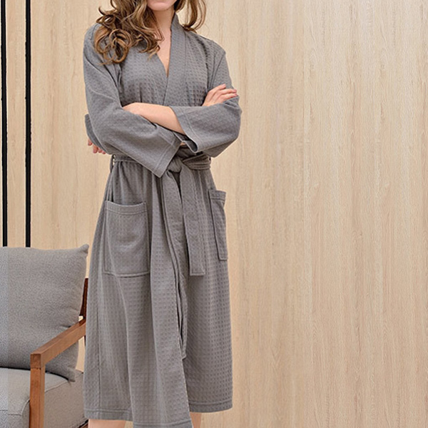 에뎀 호텔식 와플소재 사계절 샤워 목욕가운 잠옷, 1개, 그레이 XL(여성55-66)