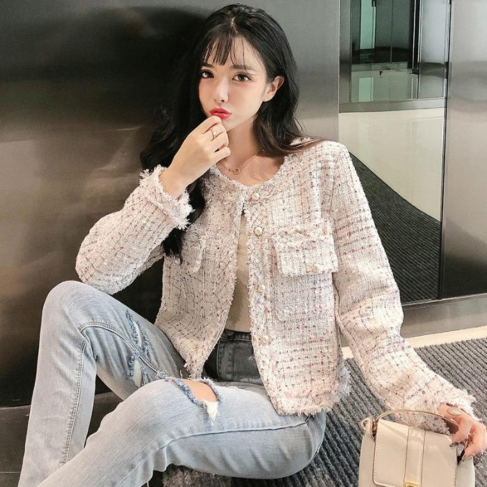 여자 봄 가을 간절기 여성 진주 숏 트위드 자켓 오피스룩