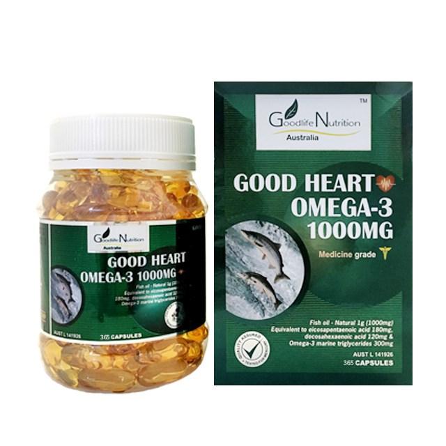 굿라이프 뉴트리션 호주산 오메가3 1000 피쉬오일 연어오일 EPA DHA 365캡슐, 365정, 1병