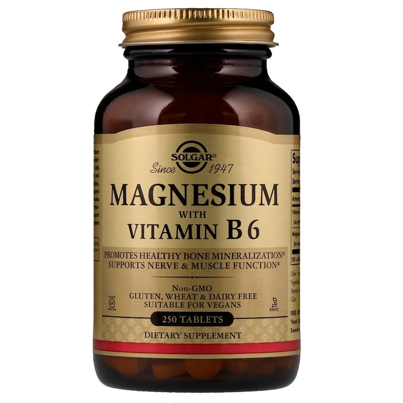 솔가 마그네슘 비타민 B6 포함 타블렛, 250개입, 1개