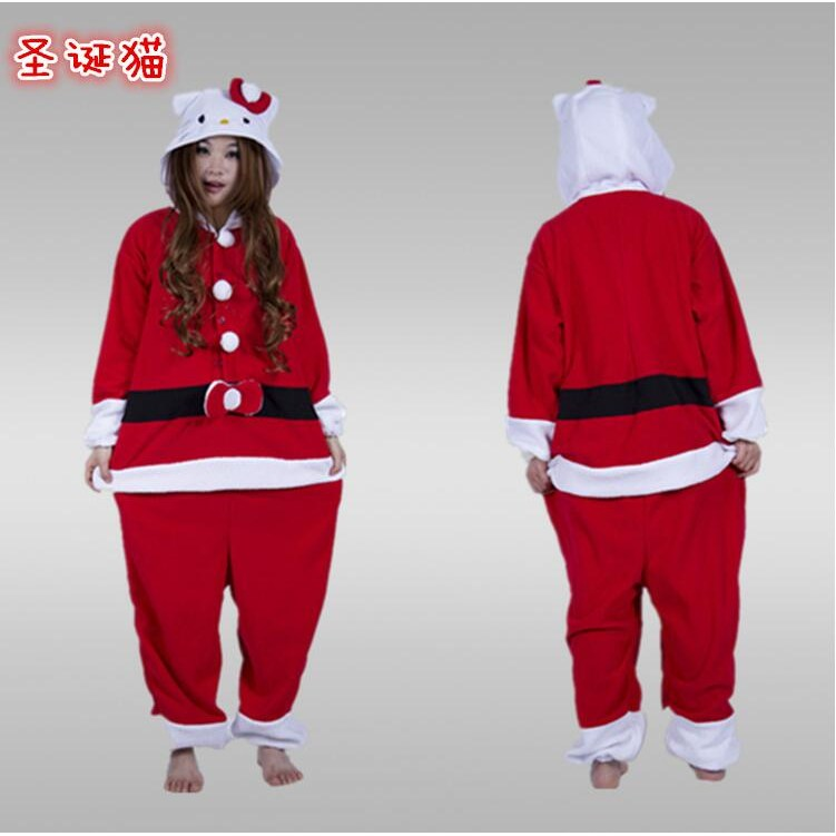 크리스마스 산타클로스 잠옷 홈웨어 파자마 남자 여자 고양이 커플