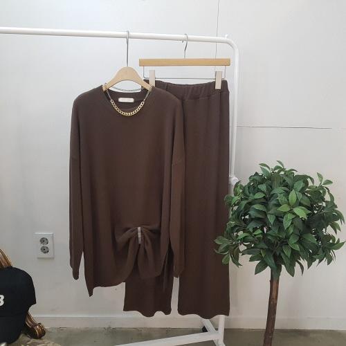 디바스타 여성용 루즈핏 라운드 티셔츠 팬츠 투피스 세트
