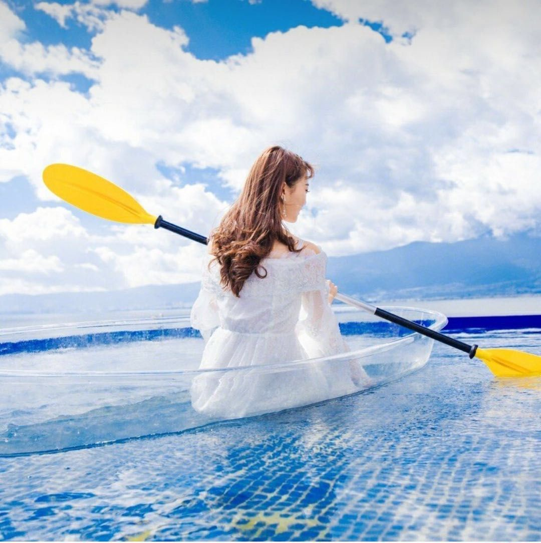 투명보트 바닥투명카약 물고기 관찰 보트 투명 카누, 패들 1 개