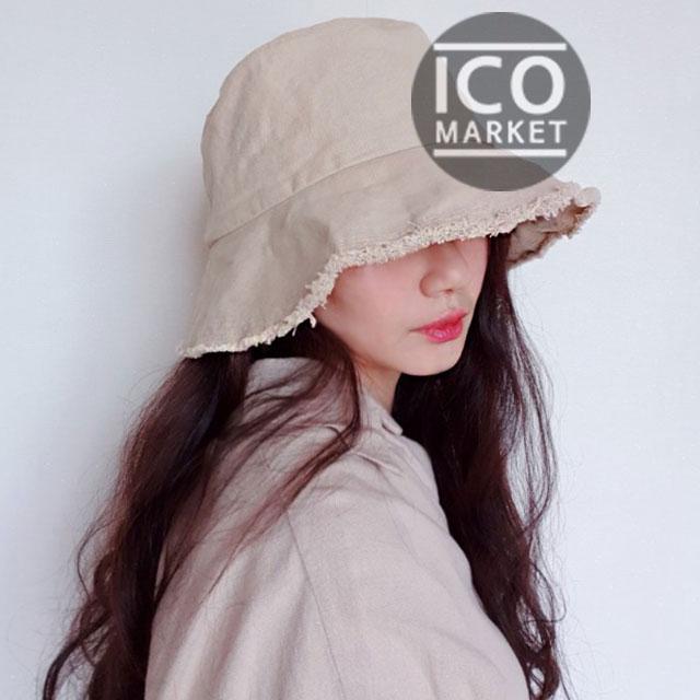 이코마켓 코튼 남자 여성 벙거지모자 자외선차단 모자 사이즈조절 빈티지 여자버킷햇 남자버킷햇