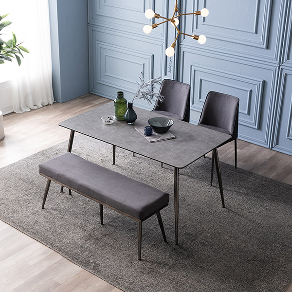 삼익가구 테스 세라믹 4인용 식탁 세트, 02.4인용 식탁세트(의자2+벤치1):그레이