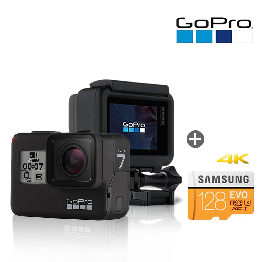 고프로 히어로7 블랙 +128GB메모리(4K지원) GoPro HERO7 액션캠, 128GB패키지