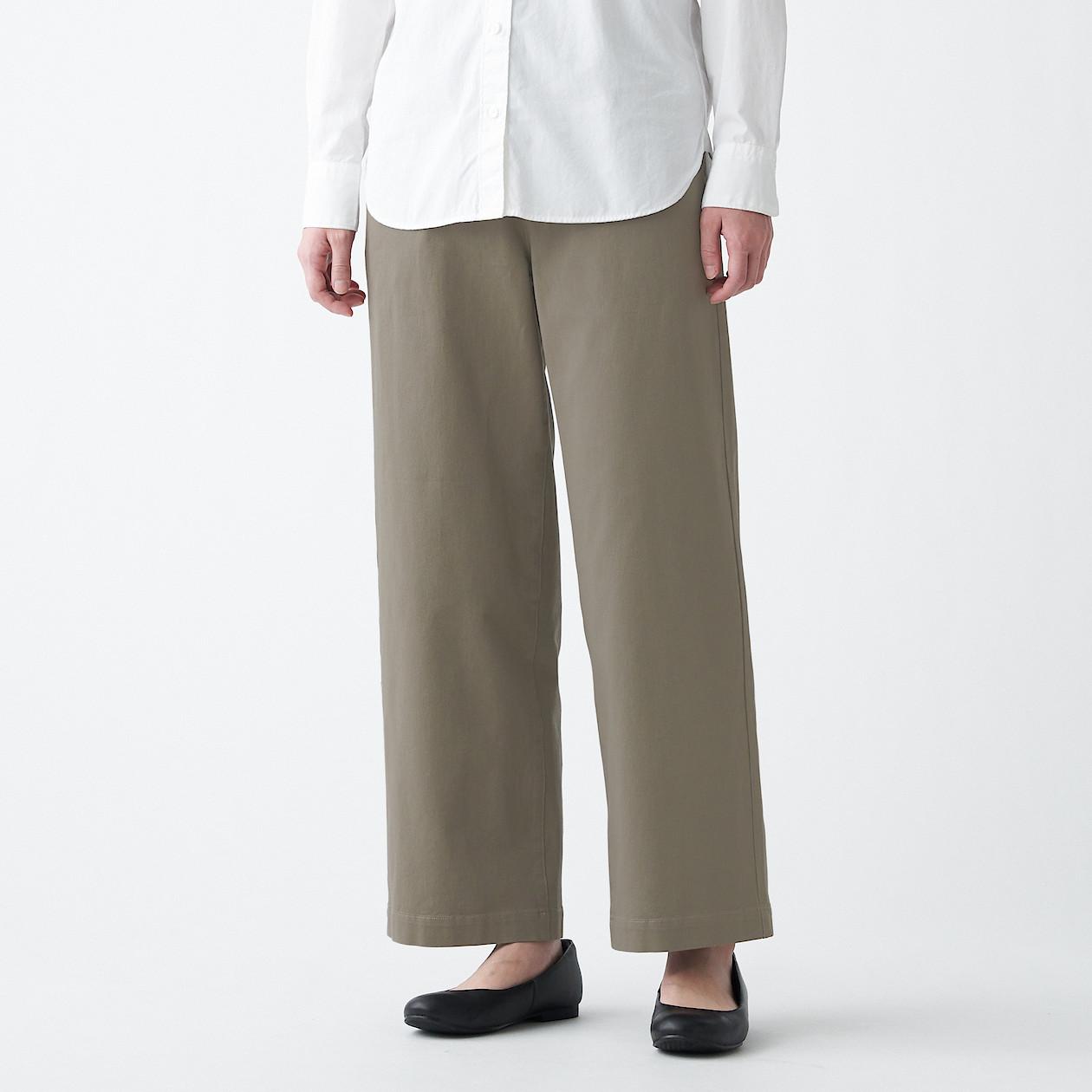 무인양품 MUJI 여성 스트레치 치노 와이드 팬츠 BED22A1S