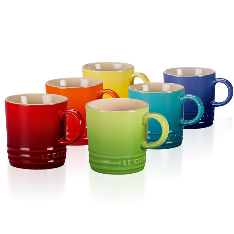 르쿠르제 머그컵 6종 세트 집들이 선물, 6종세트(빨강+주황+노랑+초록+파랑+보라)
