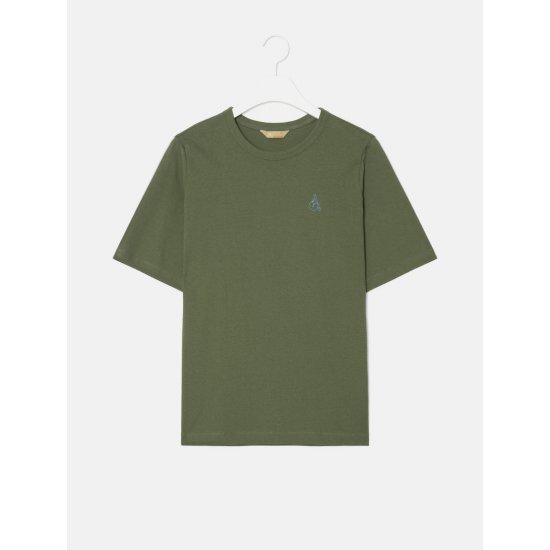 빈폴레이디스 [GREEN BEANPOLE] 카키 빅 로고 자수 반소매 티셔츠 (BF0642N10H)