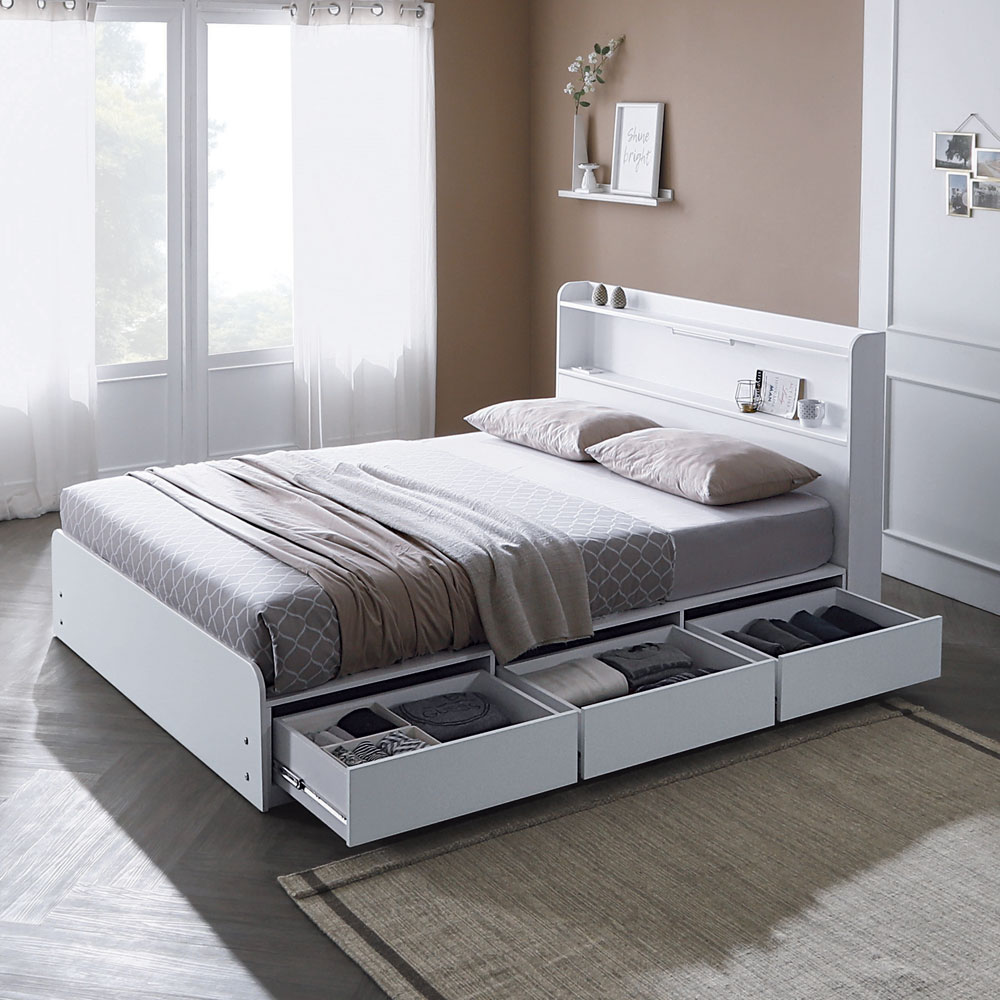 하포스 국내산 통서랍 침대프레임, 통서랍301(화이트), 침대프레임만(매트없음)