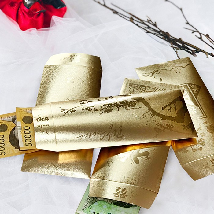 이지홈쇼핑 새해 설날 세뱃돈 현금 선물 축의 답례금 용돈 국내산 고급 황금 봉투 16p, 8세트