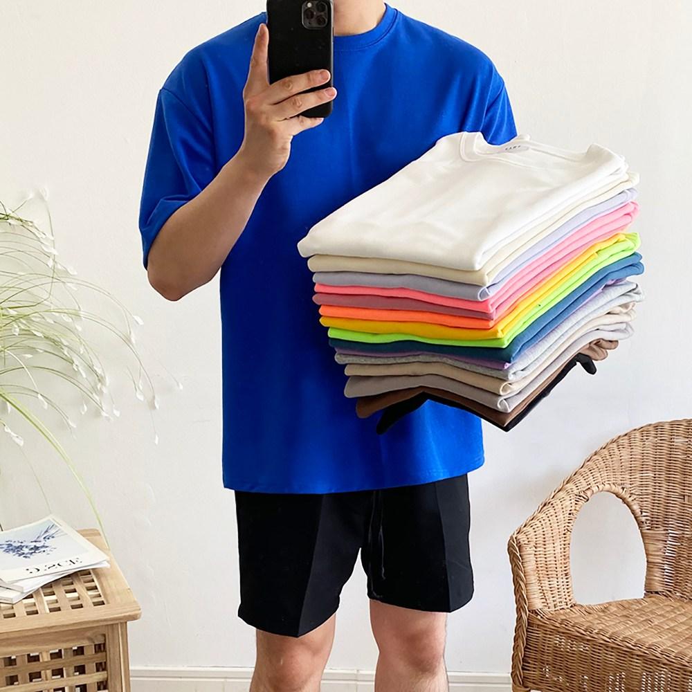 데일트 남자 오버핏 반팔티 17컬러 반팔 티셔츠, 블랙
