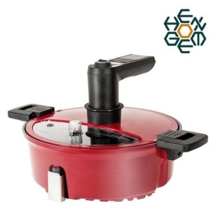 비비팬 스마트 자동회전냄비 오븐 볶음 삼겹살구이 레드 380mm X 150mm